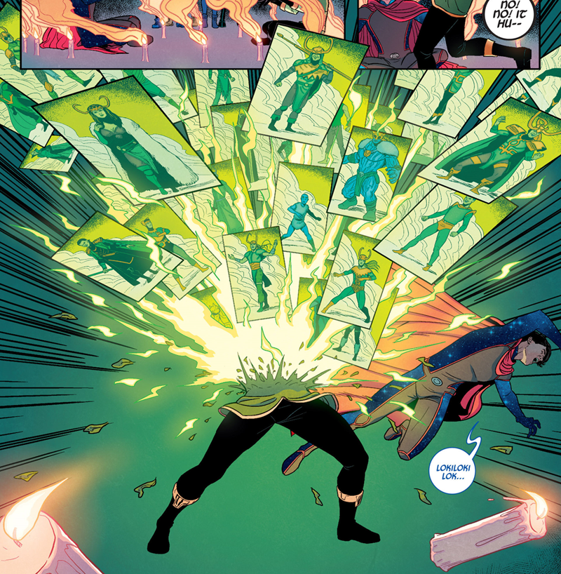 The current Loki changing forms in Young Avengers